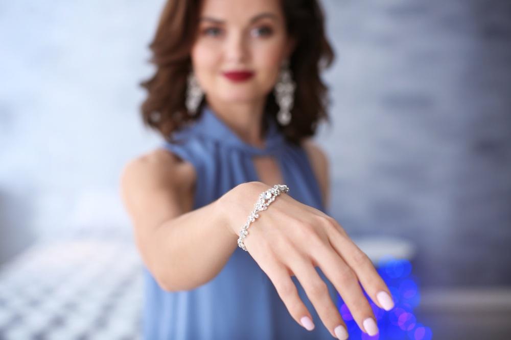 woman in diamond bracelet