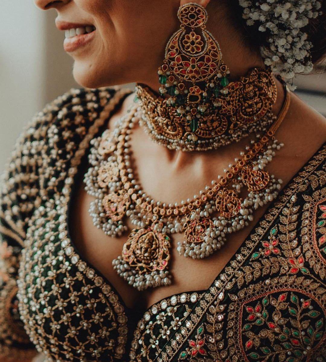 Bride in wedding jewellery